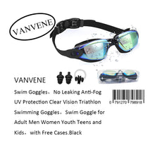VANVENE Swimming Goggles No Leaking Anti-Fog UV Protection Swim Goggles Clear Vision Triathlon Suitable Adult Men Women Youth and Teens Swimming Goggles with Free Cases.Black