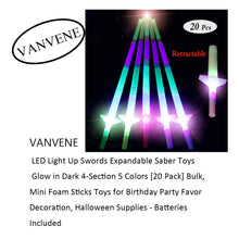 VANVENE LED Light Up Swords Expandable Saber Toys Glow in Dark 4-Section 5 Colors [20 Pack] Bulk, Mini Foam Sticks Toys for Birthday Party Favor Decoration, Halloween Supplies - Batteries Included B07SL3TGLT