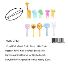 VANVENE Food Picks Fruit Forks Cake Little Forks  Dessert Forks Kids Cocktail Sticks Mini  Cartoon Animal Forks for Bento Lunch  Box,Sandwich,Appetizer,Party Pastry 20pcs