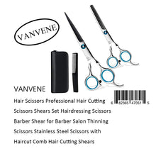 VANVENE Hair Scissors Professional Hair Cutting  Scissors Shears Set Hairdressing Scissors  Barber Shear for Barber Salon Thinning  Scissors Stainless Steel Scissors with  Haircut Comb Hair Cutting Shears