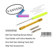 VANVENE Doll Hair Rooting Reroot Rehair  Tool Holder with Extra Needles for  Girls Doll Hair Making Tools Doll  Wig Tool Accessories