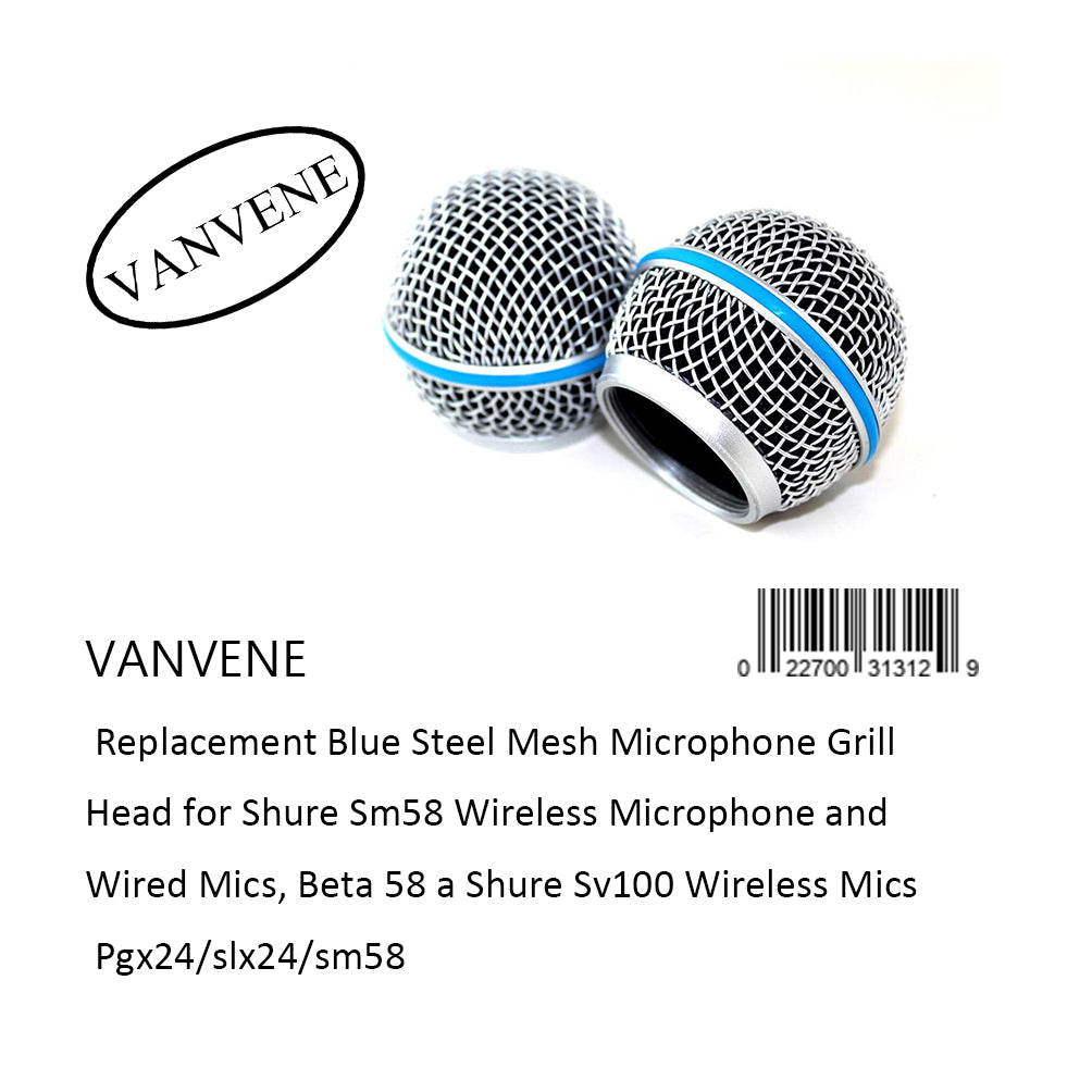 VANVENE Replacement Blue Steel Mesh Microphone Grill  Head for Shure Sm58 Wireless Microphone and  Wired Mics, Beta 58 a Shure Sv100 Wireless Mics  Pgx24/slx24/sm58