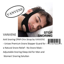 VANVENE Anti Snoring CPAP Chin Strap by VANVENE  - Unisex Premium Snore Stopper Guard for  a Natural Snore Relief - No Snore Mask -  Adjustable Snoring Sleep Aid for Men and  Women! Snoring Solution