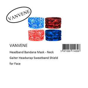 VANVENE Headband Bandana Mask - Neck  Gaiter Headwrap Sweatband Shield  for Face