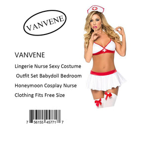 VANVENE Lingerie Nurse Sexy Costume  Outfit Set Babydoll Bedroom  Honeymoon Cosplay Nurse  Clothing Fits Free Size