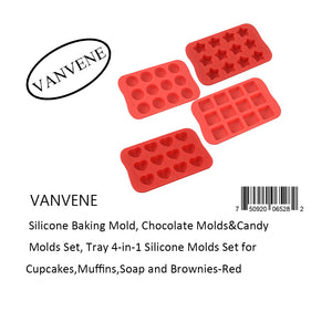 VANVENE  Silicone Baking Mold, Chocolate Molds&Candy  Molds Set, Tray 4-in-1 Silicone Molds Set for  Cupcakes,Muffins,Soap and Brownies-Red
