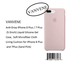 VANVENE Anti-Drop iPhone 8 Plus / 7 Plus  (5.5Inch) Liquid Silicone Gel  Case,  Soft Microfiber Cloth  Lining Cushion for iPhone 8 Plus  and 7Plus (Sand Pink)
