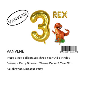 VANVENE  Huge 3 Rex Balloon Set Three Year Old Birthday  Dinosaur Party Dinosaur Theme Decor 3 Year Old  Celebration Dinosaur Party