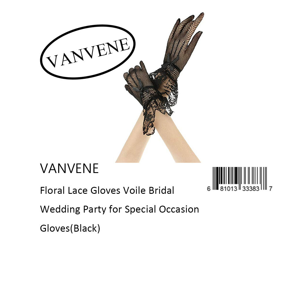 VANVENE Floral Lace Gloves Voile Bridal  Wedding Party for Special Occasion  Gloves(Black)