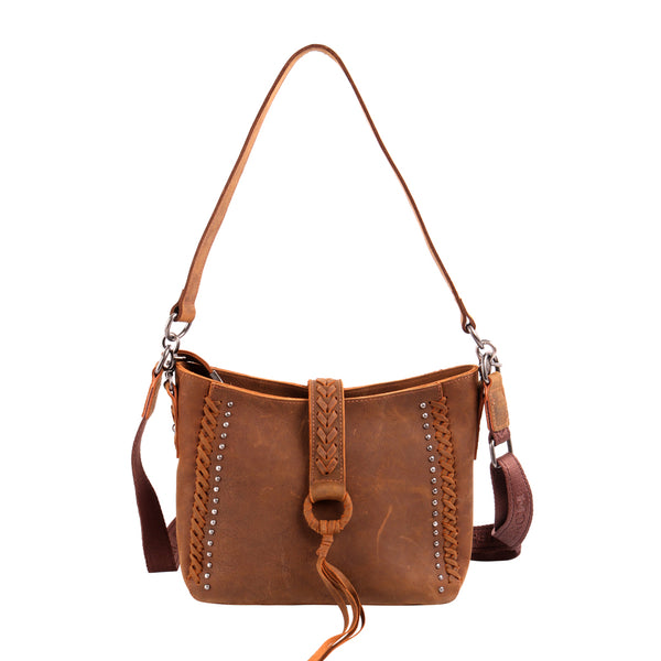MWL-001 Genuine Leather Concealed Carry Crossbody Purse for Women Studded Real Cowhide Shoulder Bag With Long Strap Gun Conceal