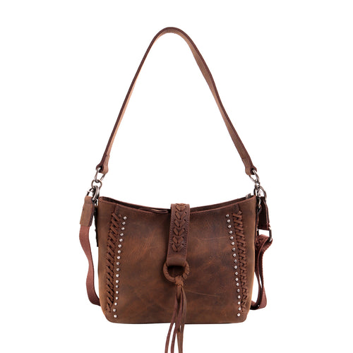 MWL-001 Genuine Leather Concealed Carry Crossbody Purse for Women Studded Real Cowhide Shoulder Bag With Long Strap Gun Conceal - Montana West World