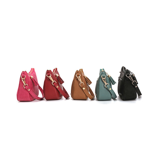 MWL-018 Classic Clutch Purses for Women - Retro shoulder bags with zipper & Detachable Crossbody Strap