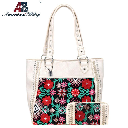 ABS-G018  American Bling Embroiderd Collection Concealed Carry Tote and Wallet Set - Montana West World