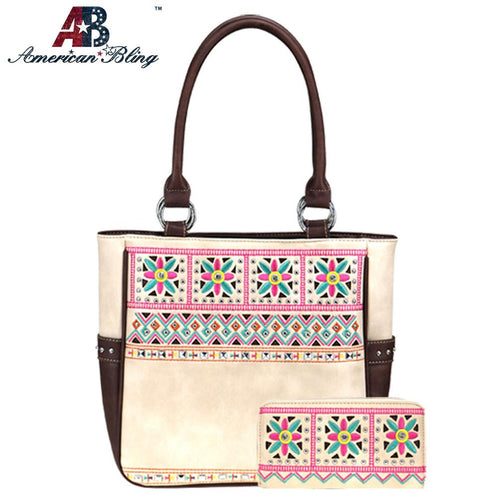 ABS-G025  American Bling Embroidered Collection Concealed Carry Tote and Wallet Set - Montana West World