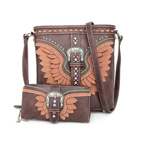 ABZ-G030 American Bling Wing Buckle Crossbody and Wallet Set-Coffee - Montana West World