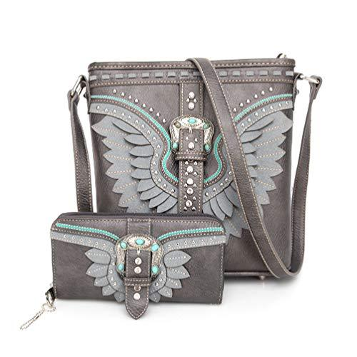 American Bling Wing Buckle Crossbody and Wallet Set-Pewter - Montana West World
