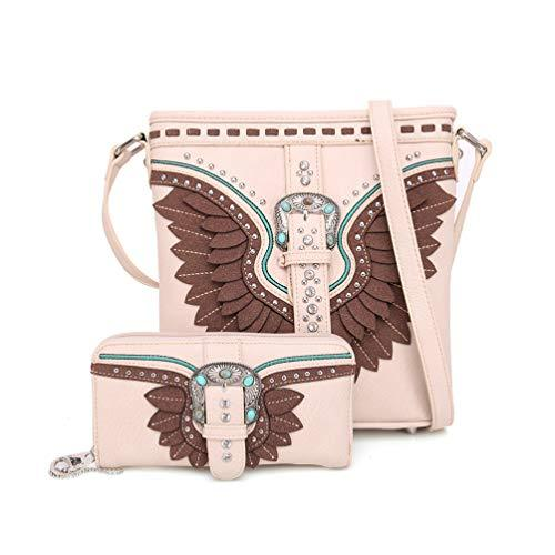 American Bling Wing Buckle Crossbody and Wallet Set-Tan - Montana West World