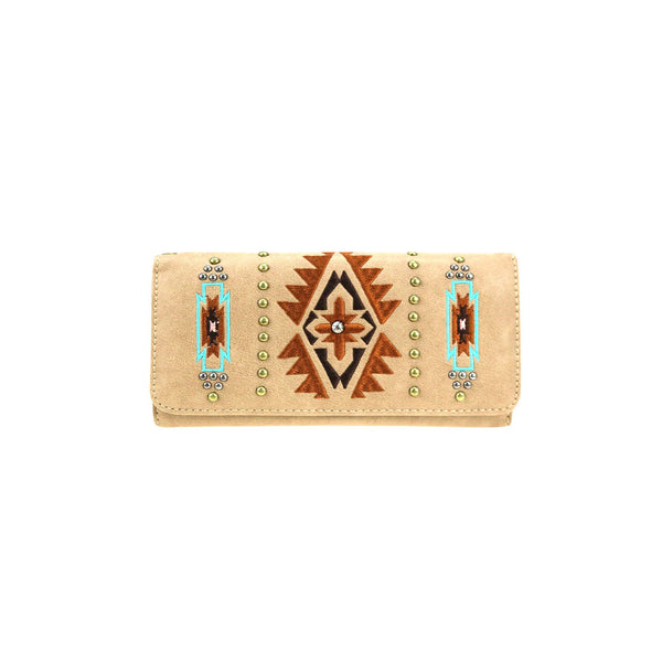 CLBW2-2705 American Bling Khaki Embroidered Wallet/Wristlet