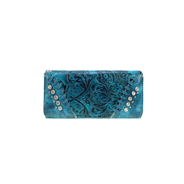 CLBW2-2723 American Bling Turquoise Embossed Floral Wallet/Wristlet - Montana West World