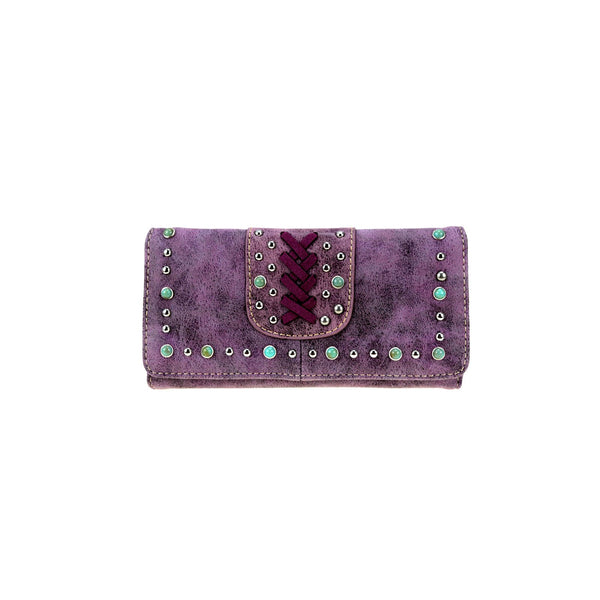 CLBW2-2807  American Bling Purple Studded Wallet/Wristlet