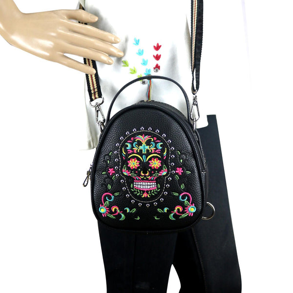 CLF-105  American Bling Beige Sugar Skull Mini Backpack, Crossbody/Shoulder Bag - Montana West World