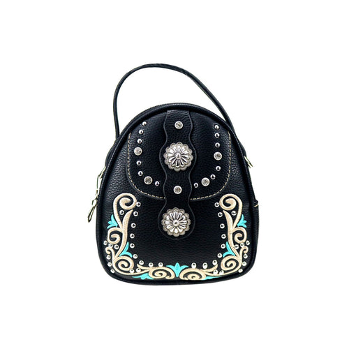 CLF-101  American Bling Black Embroidered Mini Backpack, Crossbody/Shoulder Bag - Montana West World