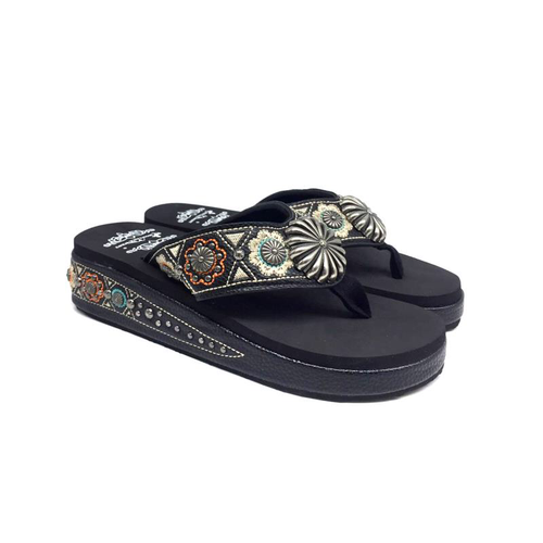 SF05-S144 Montana Western Concho Embroidered Wedge Flip-Flop By Size - Montana West World