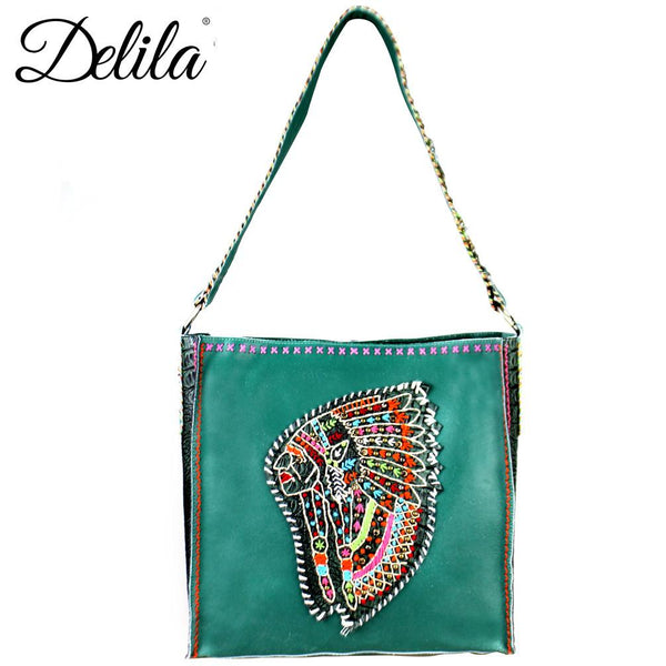 LAT-630I Delila 100% Genuine Leather Hand Embroidered Collection Tote Bag