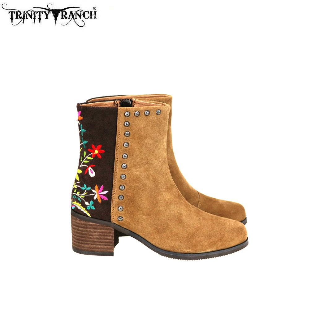Trinity Ranch Lewisia Floral-Embroidered Booties