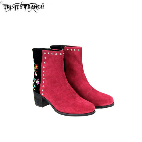 LBT-005  Trinity Ranch Western Leather Suede Booties Embroidered Collection - Montana West World