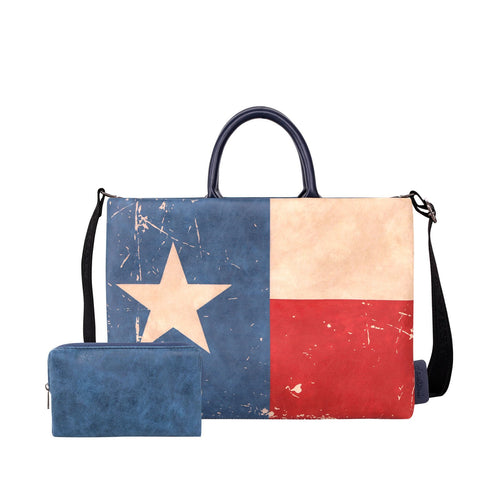 Texas Flag Print Waterproof Laptop Bag - Montana West World