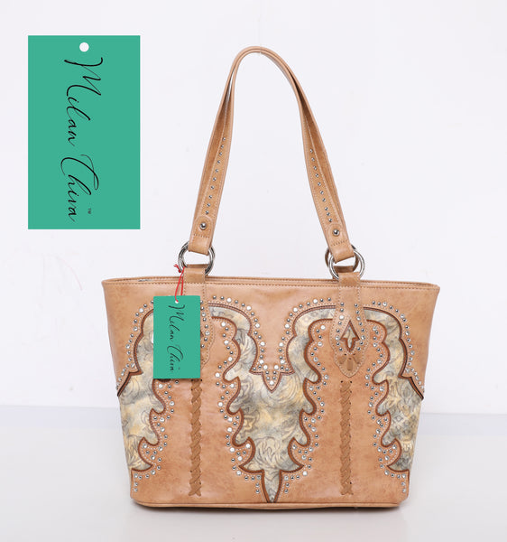 Milan Chiva Brown Cut-Out Embossed Pattern Tote - Montana West World