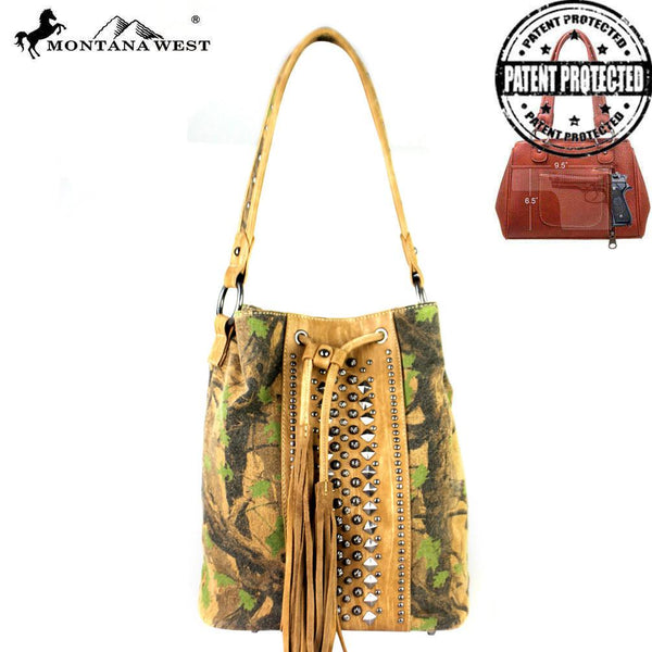 MW361G-8108 Montana West Camo Collection Concealed Handgun Drawstring Bucket Tote - Montana West World