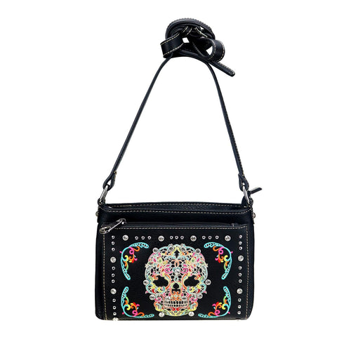 Sugar Skull Organizer Crossbody Bag - Montana West World