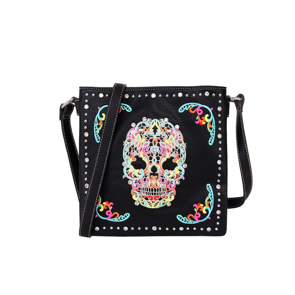 Sugar Skull Concealed Carry Crossbody Bag - Montana West World