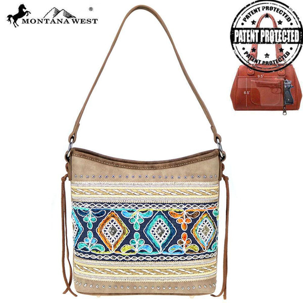 Myrtle Embroidered Concealed Carry Hobo Bag - Montana West World