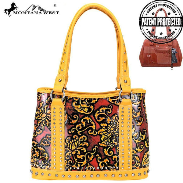 Saraca Embossed Concealed Carry Tote Bag - Montana West World