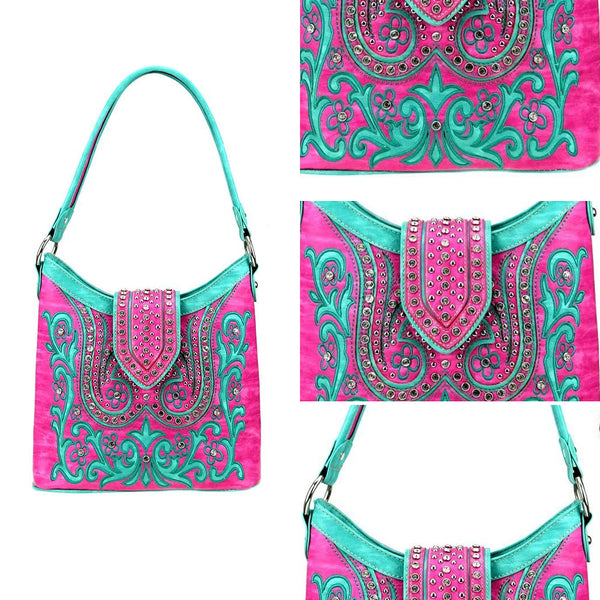 Crotons Embroidered Concealed Carry Hobo Bag - Montana West World