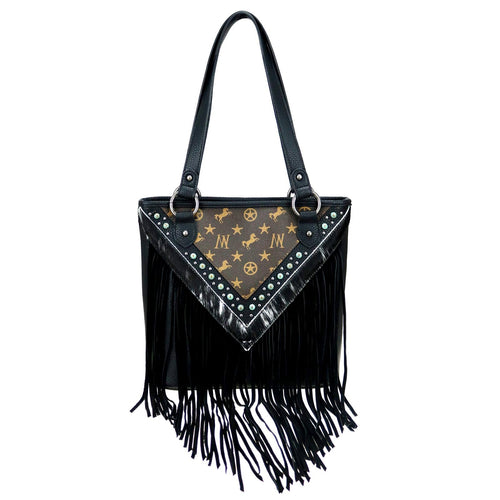 Dodder Signature Monogram Fringe Tote - Montana West World