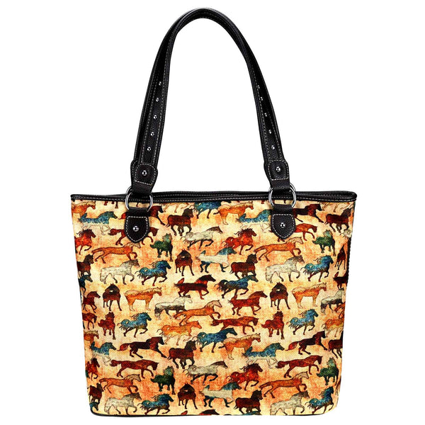 MW927-8112 Montana West Horse Collection Canvas Tote Bag - Montana West World