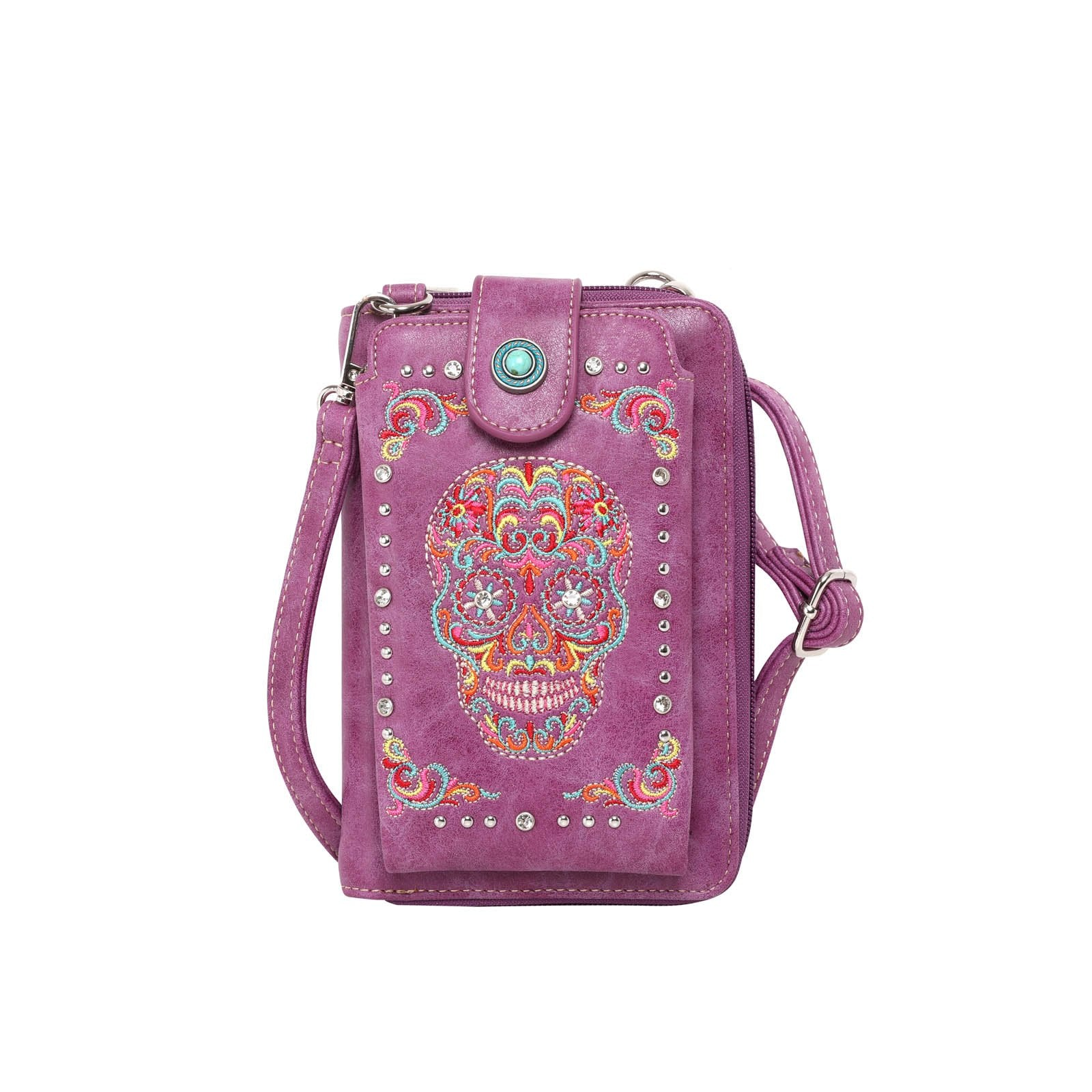 Montana West Sugar Skull Collection Phone Wallet Purse /Crossbody - Montana West World