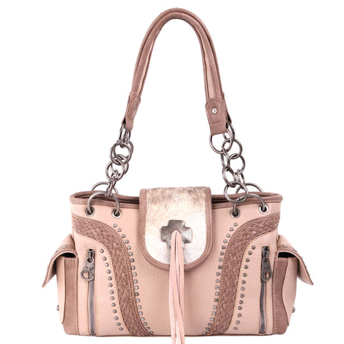 MW955G-8085 Montana West Hair-On Cowhide Collection Concealed Carry Satchel - Montana West World