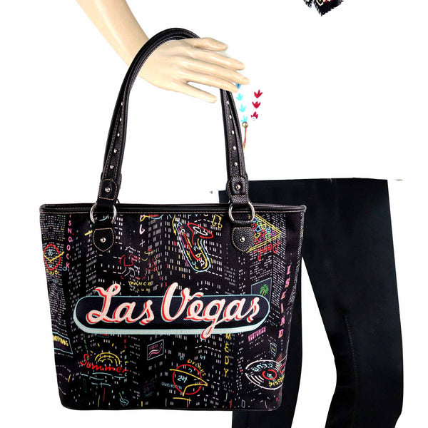 MW978-8112 Montana West Black Las Vegas  Canvas Tote Bag