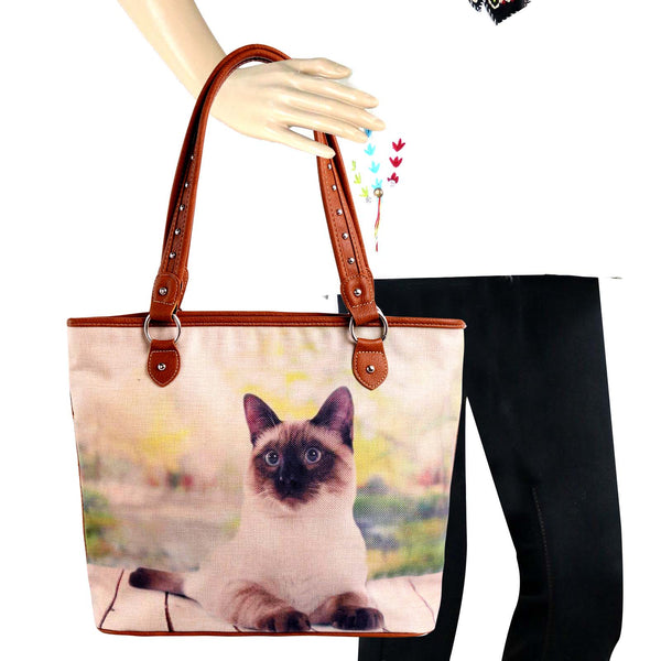 MW981-8112 Montana West Cats Collection Canvas Tote Bag
