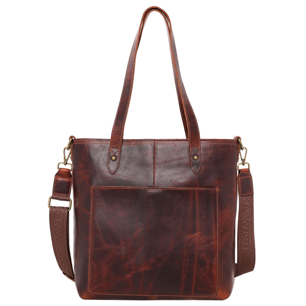 Real Leather Concealed Carry Safety Travel Tote/Crossbody - Montana West World