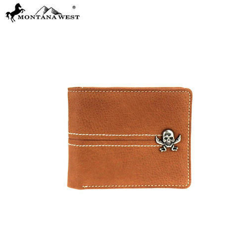 MWS-W020 Genuine Leather Skull Collection Men's Wallet - Montana West World
