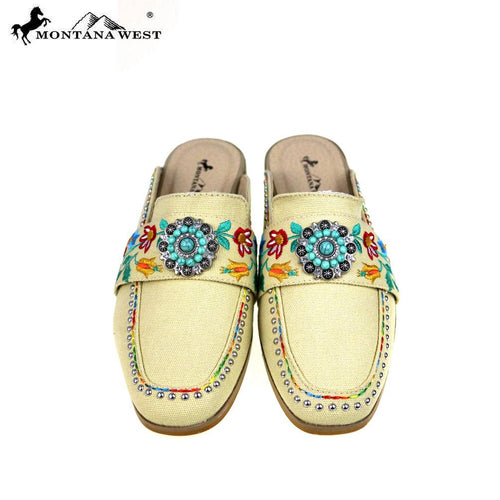 NFF-S005  Montana West Embroidered Collection Mule Slide - Montana West World