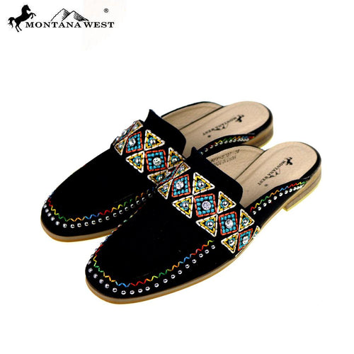 NFF-S007  Montana West Embroidered Collection Mule Slide - Montana West World