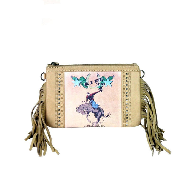 RLC-L056 Montana West 100% Real Leather Rodeo Collection Fringe Clutch