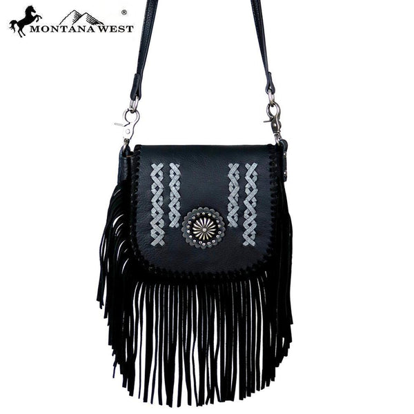 RLC-L108 Montana West Real Leather Fringe Crossbody - Montana West World
